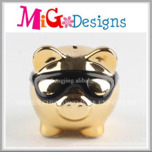 Adorable Pig with Wearing Sunglasses Ceramic Piggy Bank