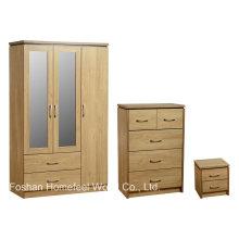 3 Stück Schlafzimmermöbel Set mit verspiegeltem Kleiderschrank (DB18)