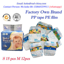 Quanzhou Diaper Fabricante África Hot Sell baratos descartáveis Sleepy Baby Fraldas Nappy