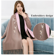 2017winter women floral maxi high quality pashmina cotton shawl dubai women viscose embroidery scarf