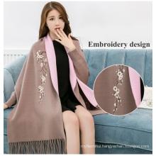 2017winter women floral maxi high quality pashmina cotton shawl dubai women viscose embroidery scarf
