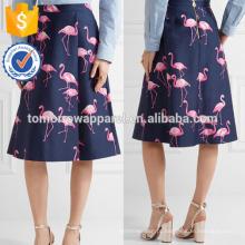 Nova Moda Impresso Seda E Algodão-mistura Midi Saia DEM / DOM Fabricação Atacado Moda Feminina Vestuário (TA5118S)