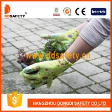 Зеленый Нейлон Цветок Дизайн Корпуса Прозрачным Покрытием Нитрила Перчатки Dnn356