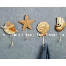 Gancho de parede de design de mar Shell, gancho de suspensão de resina poli