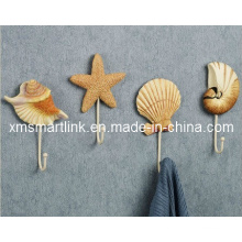 Морской дизайн оболочки стены крюк, поли смолы вешалка крюк
