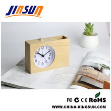2017 New Wooden Penholder With Quartz Alarm Clock