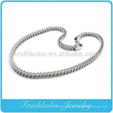 TKB-RN0045 Único Cadeia de Cobra Enorme pedra de Prata Pesada Moda 316L colar de Aço Inoxidável