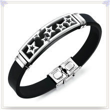 Stainless Steel Jewelry Leather Bracelet Silicone Bracelet (LB593)
