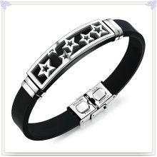 Aço inoxidável jóias pulseira de couro pulseira de silicone (lb593)