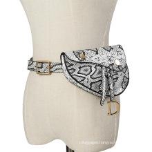 2021 new design leather pu waist belt bag for women lady modern fashion Snakeskin grain waist bag