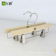 populares pantalones de madera laminada percha trounser clips clips perchas