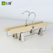 popular laminated wood pants hanger trounser metal clips hangers