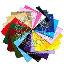 Impressão promocional cachecol cabeça Wrap personalizado Paisley algodão impresso Headwear cachecol Custom Bandana