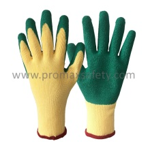 10 Gants Beige Polycotton Shell Green Latex Palm Coated Gloves