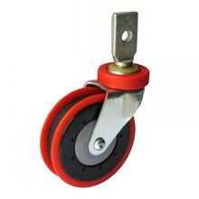 "5"" Splinting Type Swivel Shopping Cart Caster (red, one groove)"