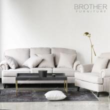 Sofá elegante do sofá branco de veludo de estofamento da mobília home com o coxim engrossado