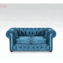 modern Leisure Blue velvet home living room furniture chesterfield sofa set 3 seater