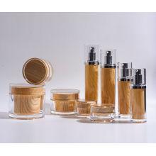 15m-130ml Cilindro plástico acrílico loção garrafa e frascos com madeira como impressão