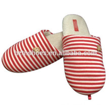 Supplier make Knitted striped Indoor Slipper for women/girl