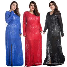 Mode vente chaude femmes robe de dame, plus la taille des robes formelles manches longues évider robe en dentelle