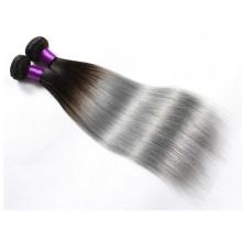 Bonne rétroaction 8-30 pouces 100% de cheveux humains tissent les extensions de cheveux d'ombre de gris et de noir à vendre
