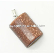 Semi precious gold stone rectangle pendant with high quality