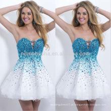 2014 Vestidos de festa de baile de finalistas brancos e azuis bonitos com vestido de casamento com acentuado calor de coração A-Line Vestido de vestimenta quente Venda NB0467