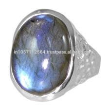 Natürlicher Labradorit Edelstein mit 925 Sterling Silber Hammered Design Ring