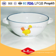 Новости керамическая чаша с милой утиной дизайн с двумя ручками для BS120808B