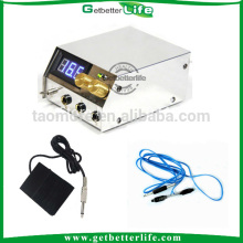 White stainless steel dual LCD meter tattoo power supply