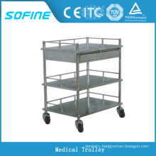 SF-DJ136 hospital use 3-tier stainless steel emergency trolley