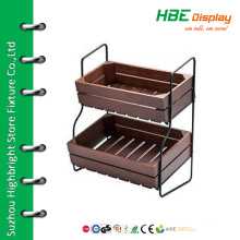2-tier wood bread display stand wood fruit stand