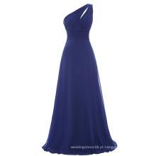 Starzz Um ombro Marinho Azul Chiffon Vestido de dama de honra longo ST000071-3