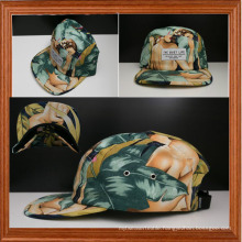 Naked and Floral Pattern 5 Panel Caps