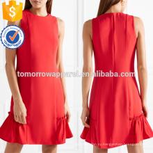 Горячей продажи Рябить отделкой Красный полиэстер без рукавов мини летнее платье Производство Оптовая продажа женской одежды (TA0259D)