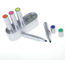 5PC Silveryhighlighter Pen em uma caixa Platic (6538)