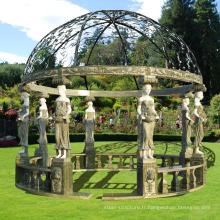Vente chaude moderne décoration de la maison marbre sculpture jardin luxe gazebo