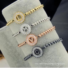 26 Letter Rose Gold Silver Gold Plated Bracelet Jewelry Personality Round Initial Letter Woven Bracelet