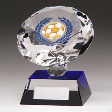 80mm Diamond Spirit Crystal Football Trophy — Free Engraving