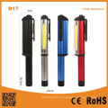 Multi-funcional caneta forma COB portátil LED trabalho luz com magnético clip