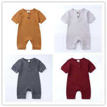 Button Wholesale Unisex Baby Infant Rompers Set Clothes 100% Cotton Newborn Girls Boys Baby Rompers