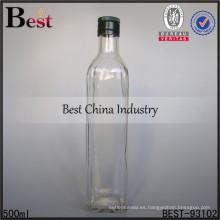Frasco de vidrio de 500 ml con doble tapa para whisky