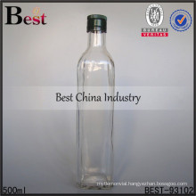 500ml glass bottle with double cap for whiskey