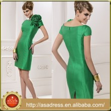 MFD 020 The New Arrival Green V-Back Flower Party Dress Knee-Length Short Sleeve Mother of the Bride Dress