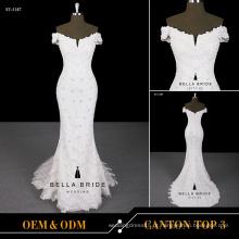 2017 zíper vestido de noiva de volta vestido de noiva com decote em forma de luva sereia