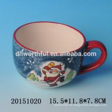 2016 venta directa de fábrica de la fábrica de cerámica tazas de café de Navidad con santa pintura