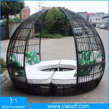 Chine Sofa rond extérieur de rotin de grande vente d'usine avec l'auvent