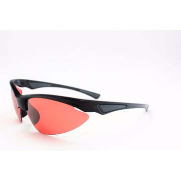 Semi-Rimless Shiny Black Sunglasses with Brown Lenses for Sports-16307
