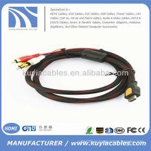 Alta calidad 5 pies 1.5M HDMI a 3RCA 3 RCA Video Audio AV Cable