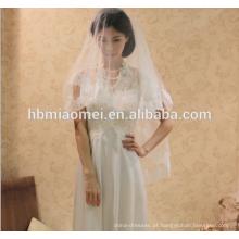 Versão coreana da noiva vestido de noiva cocar tridimensional rendas frisado catedral véu do casamento